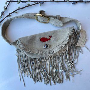 NWT Elk Skin Belt Bag Tassels Beaded Alaska Unique